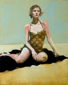 Artist: Michael Carson (b. 1972), oil on canvas {contemporary figurative female polka dot swimsuit décolletage woman painting detail} Poised !!