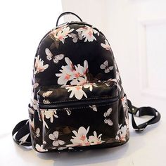 Unique Flower Printing Leather Backpacks