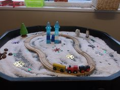 put the train and train track in the tuff tray make it into a winter scene! easy to do by gathering toys from around the nursery. add instant snow and added snowflakes and sparkle for extra effect. Christmas Activities For Toddlers, Preschool Christmas, Winter Activities, Kids Christmas, Nursery Activities, Sensory Activities, Infant Activities, Sensory Bins, Polar Express Crafts