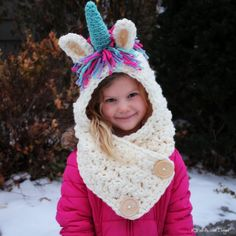 Ideas Crochet Kids Scarf Pattern Hooded Cowl For 2019 Crochet Hooded Cowl, Crochet Kids Scarf, Knitted Hats Kids, Crochet Scarves, Crochet For Kids, Crochet Hats, Crochet Unicorn Blanket, Crochet Unicorn Pattern Free, Kids Winter Hats