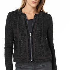 HP!  Rebecca Taylor jacket - NWT- size 2 Rebecca Taylor metallic tweed jacket - NWT- Size 2. Trimmed in 100% genuine lamb leather and 100% silk. Zip front closure. Stretch black knit fabric on the underside of the arms - comfortable fit. Simply gorgeous!!  Classic piece to have in your wardrobe!  Looks great with pants, skirts, and to dress up denim! Rebecca Taylor Jackets & Coats