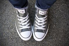 Gray Leather Converse.  MUST HAVE <3