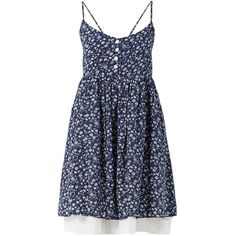 Belle Heart Navy Button Front Layered Ditsy Floral Dress ($16) ❤ liked on Polyvore featuring dresses, blue fit and flare dress, navy blue fit and flare dress, double layer dress, fit and flare dress and layered dress