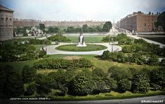 1890s Robert French photo colourised by Rob Cross featuring Prince Albert's statue by John Henry Foley together with its companion sculptures representing Art, Science, Industry and Agriculture on Leinster Lawn in #Dublin. #IrishHistory #History