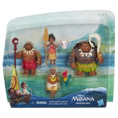 Moana of Oceania's epic quest wouldn't be the same without her lively and loyal family and friends! This fun adventure pack features 6 characters, including a Moana of Oceania doll, a Maui the demigod figure, Pua and Hei Hei figures, as well as Tui Motunui and Grandma Tala figures. Kids can reenact story moments and create new ones with some of their favorite characters from Disney's Moana. The adventure pack also comes with 5 accessories, including a necklace, oar, fishhook, Tui ...