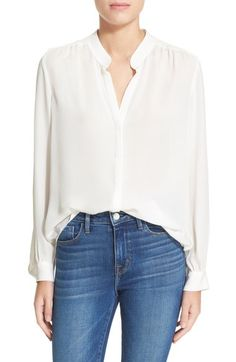 L'AGENCE 'Bianca' Band Collar Silk Blouse available at #Nordstrom