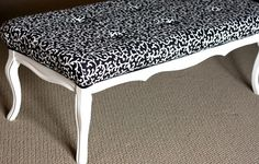 This bench was a table.  I plan to use this tutorial as I create a seat cushion for a cedar chest that lacked one.