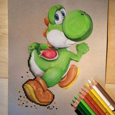 Art by Ursula Doughty on Strathmore Toned Tan Paper - to do by Denise 4 - Zeichnung Cool Art Drawings, Art Drawings Sketches, Disney Drawings, Cartoon Drawings, Pencil Drawings, Drawing Disney, Drawing Ideas, Yoshi Drawing, Sheet Music Art