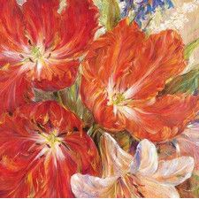Spring Baroque by L. Carson Painting Print on Wrapped Canvas in Red