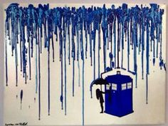 Doctor Who melted crayon art! I am absolutely in love with this! Dr Who for Hubby :) Crayons Fondus, Melting Crayons, Dr Who, Diy Tableau, Doctor Who Art, Doctor Who Decor, Doctor Who Drawings, Diy Doctor, Crayon Art