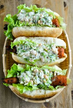 Smoky barbecue carrot dogs with creamy chickpea salad. Be a good sport and try one! You won't regret it.