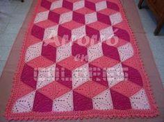 patrón de crochet: ilusión, manta de triángulos  fototutorial,patrón textual crochet (ganchillo)
