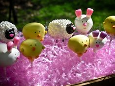 Easter cake pops a sheep bunny and chick from Fork You with a cute tutorial and wonderful suggestions.