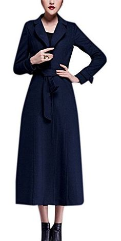 Women's Full-Length Sing-Breasted Turn Down Collar Wool Coat with Belt Navy L