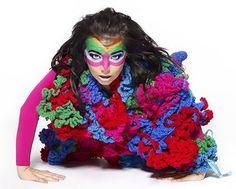 Bjork in freeform crochet