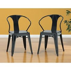 "black metal = 180/2      Pack of four (4) chairs      Color: Black      Materials: Steel      Finish: Polished      Stackable design      Seat height: 17.5 inches      Seat: 15 inches x 15 inches      Dimensions: 31"" h x 20 "" w x 19"" d"
