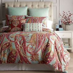 Handcrafted of 100% cotton, our Granada Paisley bedding will add vibrant color and a global attitude to your bedroom. Accessorize with coordinating decorative pillows embellished with embroidery for a look that's bold and bright.