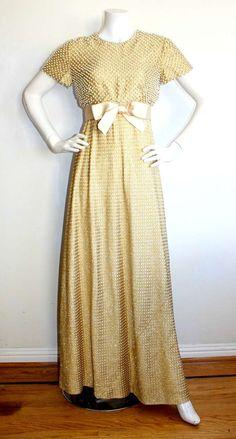 Geoffrey Beene Vintage Gold Metallic Pearl Belted Gown