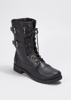 image of Black Lace Up Buckled Combat Boot