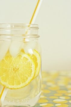 """Love the lemon water in a mason jar with matching straw!""  ~quoted by whom i repinned...  nonetheless, I drink out of a Mason jar Qday w/Lemon.   However, my straw is usually Fiji Ocean water Blue #viqua #uvwater"