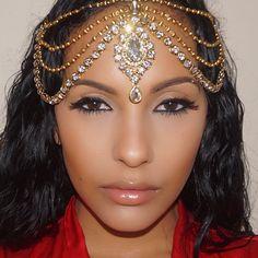Gold Diamante Kundan Matha Patti Wedding Bridal Goddess Bohemian Boho Grecian Head Chain Hair Jewelry Head Piece Bollywood Wedding