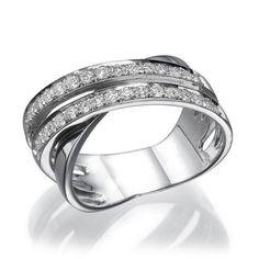 1/2 Carat Diamond Anniversary ring - X shaped 18k White Gold Diamond Wedding Band, Designer Anniversary Band, Bridal Diamond Ring on Etsy, €900.22