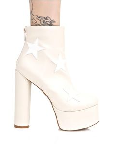 Public Desire Nude Cloud Star Platform Boots ...ground control to mars, we're callin' for you! These ultra cool boots feature a smooth nude vegan leather construction, supa tall covered platform 'N block heel, white star appliques all over, and back zip closure.