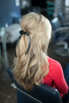 Half up - How to Create Stunning Hairstyles Using Ribbons ... [ more at http://hair.allwomenstalk.com ] A half up hairdo is great for lots of events, including church. You can do half up with curls or straight hair and it will still look great. Pull your hair back starting above your ears and secure it with a small clip or a couple of barrettes. Tie a length of ribbon into a bow and add it to the look.... #Hair #Small #Ponytail #Ribbons #Look #Hairstyles