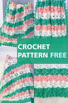 This crochet blanket free pattern features a beautiful floral stitch with a pom pom border. Step by step pictures make it easy for beginners. Crochet Throw Pattern, Easy Crochet Blanket, Baby Afghan Crochet, Crochet Stitches Patterns, Free Crochet, Crochet Blankets, Baby Blankets, Baby Afghans, Stitch Patterns