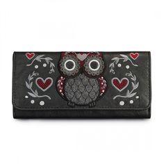Tweed Owl Wallet by Loungefly (Grey/Burgundy)