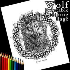 New to Atramentaria on Etsy: Grey Wolf Printable Coloring Page - Celtic Knot Realistic Animal Adult Coloring (1.75 USD)