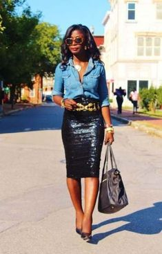 Chambray Shirt & Sequin Skirt (from FashBerries) www. Source by whatnicolewore Sequin Skirt Outfit, Black Sequin Skirt, Sequin Pencil Skirt, Pencil Skirt Outfits, Black Sequins, Black Sparkle, Chambray, Casual Outfits, Cute Outfits
