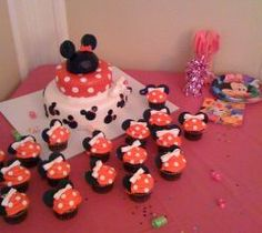 Maybe a cake like that in background with Minnie and Mickey heads on it to tie in with cupcakes