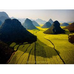 Photograph by George Steinmetz @geosteinmetz / @thephotosociety  Karst hills punctuate privately owned fields of rapeseed near #Luoping in China's Yunnan Province.  The rape seed is harvested for cooking oil, the stalks are turned into home insulation, and beehives are brought in to make honey.  With very little arable land to feed a large population, almost every scrap of flat fertile soil in China is used to grow something.  To see more aerial photos of China go to @geosteinmetz #notadrone