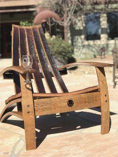 New Wine Barrel Chair Plans - Vine Ideas Adirondack Chair Plans, Adirondack Furniture, Outdoor Furniture Plans, Rustic Furniture, Wooden Garden Chairs, Deck Chairs, Outdoor Chairs, Lounge Chairs, Room Chairs
