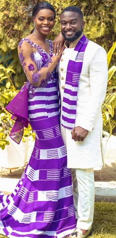 traditional wedding dress By Diyanu - African Plus Size Clothing at D'IYANU Couples African Outfits, Couple Outfits, African Attire, African Wear, African Fashion Dresses, African Dress, Ghana Traditional Wedding, Traditional Wedding Dresses, Traditional Outfits