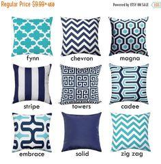 Navy Outdoor Pillow Covers - Aqua Hidden Zipper Pillow - Magna Oxford Navy Pillow Case - Aqua Ocean Blue Chevron Cushion - Solid Navy Pillo