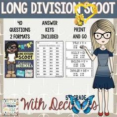 Long Division with Decimals SCOOT - 5th Grade Division Game Long Division with Decimals SCOOT - 5th Grade... by Keep Calm and Teach 5th Grade | Teachers Pay Teachers<br> Teaching 5th Grade, 5th Grade Teachers, Fifth Grade Math, Teaching Math, Teaching Ideas, Teaching Career, Math Teacher, Teacher Stuff, Division Games