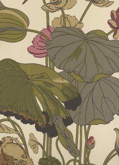 Nympheus wallpaper from GP & J Baker - BW45033/4 - Olive/Linen