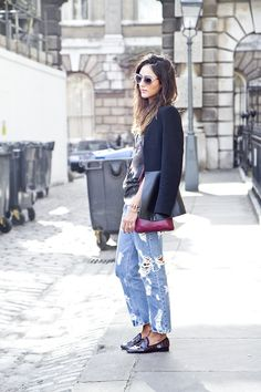 navy blazer + ripped jeans.
