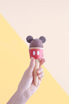 DIY Mickey Mouse Ice Cream Tutorial with FREE Printable Ice Cream Cone Wrapper