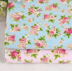 Pink /Blue floral fabricflower fabric cotton by Watermelonbaby2013