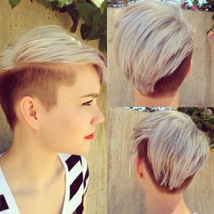 By Lauren Franz-Maurer of Mint Hair Studio In Scottsdale, AZ. Silver hair pixie undercut.