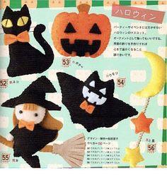 Una locura de ideas: Patrón de broches de fieltro para Halloween; calabaza, luna, gato, bruja y murciélago
