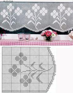 Decoración de hogar: Cortinas de crochet Cuando pensamos en la decoración de una casa, las cortinas de la cocina quedan en un segundo plano. En esos casos, siempre las cortinas del salón y los dormitorios predominan sobre aquéllas y se … Ler mais... → Filet Crochet, Crochet Chart, Thread Crochet, Crochet Granny, Crochet Doilies, Crochet Flowers, Knit Crochet, Crochet Curtains, Crochet Edgings