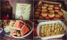corn on the cob, watermelon, cornbread in cupcake liners,...