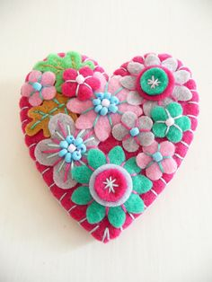 Items similar to - Japanese Art Inspired Heart Shape Felt Brooch - Fuchsia on Etsy Felt Embroidery, Japanese Embroidery, Felt Applique, Embroidery Jewelry, Embroidery Ideas, Embroidery Stitches, Fabric Crafts, Sewing Crafts, Sewing Projects