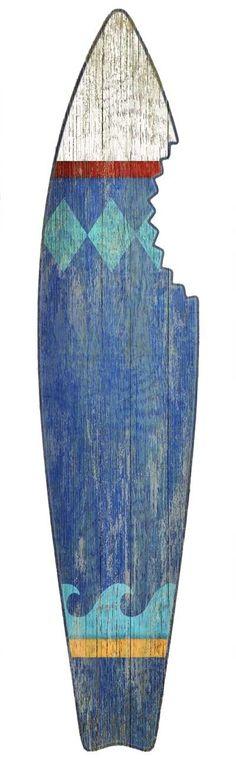 Blue Shark Bite Surf Board Wall Art from Suzanne Nicoll- too fun!