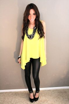 cant go wrong with Leather Leggings & casual flowy top