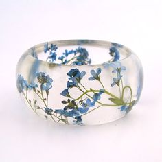 Forget Me Nots Resin Bangle Bracelet - - Blue Real Flowers Cuff - Pressed Flower Bracelet for the Gardener or Nature Lover